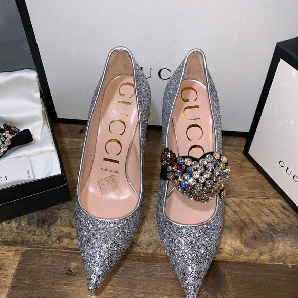 16dfd680cb101c Gucci Shoes | Virginia Glitter Pumps W Crystals | Poshmark